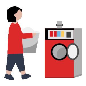 洗濯機乾燥機の使い方手順イラスト1